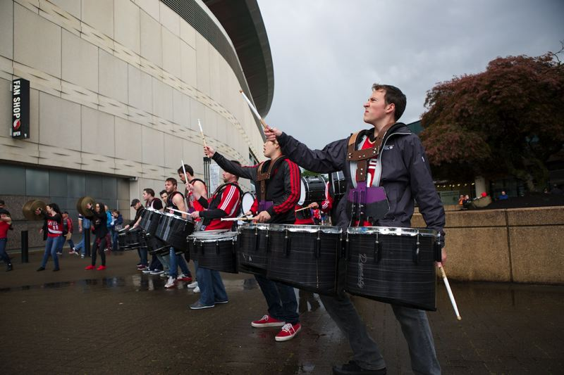 Striking up the band outside Moda Center before Friday's action inside.