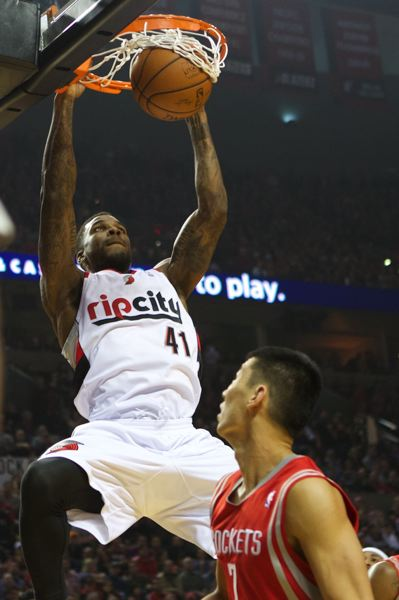 Thomas Robinson dunks in the first half for Portland.