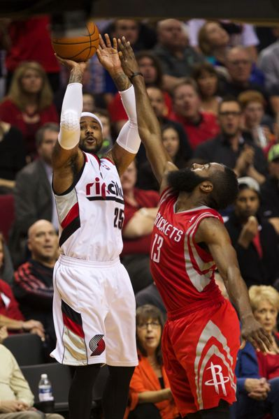 by: TRIBUNE PHOTO: JAIME VALDEZ - Blazers backup guard Mo Williams sinks a 3-pointer against Houston's James Harden.