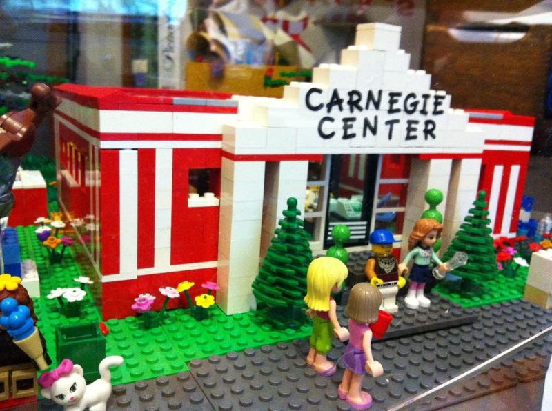 by: SUBMITTED PHOTO - This model of Oregon City's Carnegie Library took 9-year-old twins an estimated 80 hours to complete as part of this month's 'I Love My Library' contest.