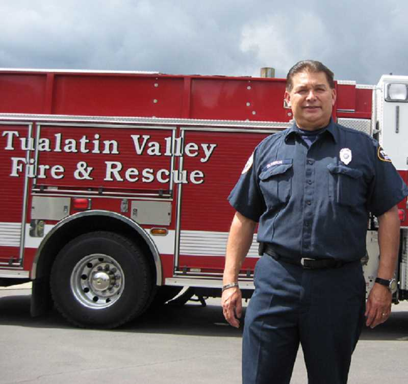 by: GAZETTE FILE PHOTO: RAY PITZ - Rudy Oliveros, who would later work at Sherwood Station No. 33 for 13 years, was working at a Beaverton fire station when he and his crew responded to the school fire.  Oliveros went to look for the source of the fire, climbing up into the auditorium's projection room and was initially unaware of what happened to Bowman.