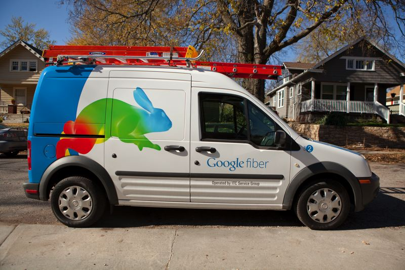 by: COURTESY OF GOOGLE CORP. - Google Fiber installation trucks have become a common sight around some Kansas City neighborhoods. The tech giant is bringing its high-speed broadband service to Portland after a franchise agreement is reached.