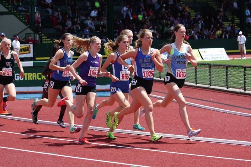 by: COURTESY OF COLLEEN THOMPSON - Paige Rice of St. Marys Academy (second from right) runs in the Class 6A 1,500 meters during last years state track and field meet at Hayward Field.