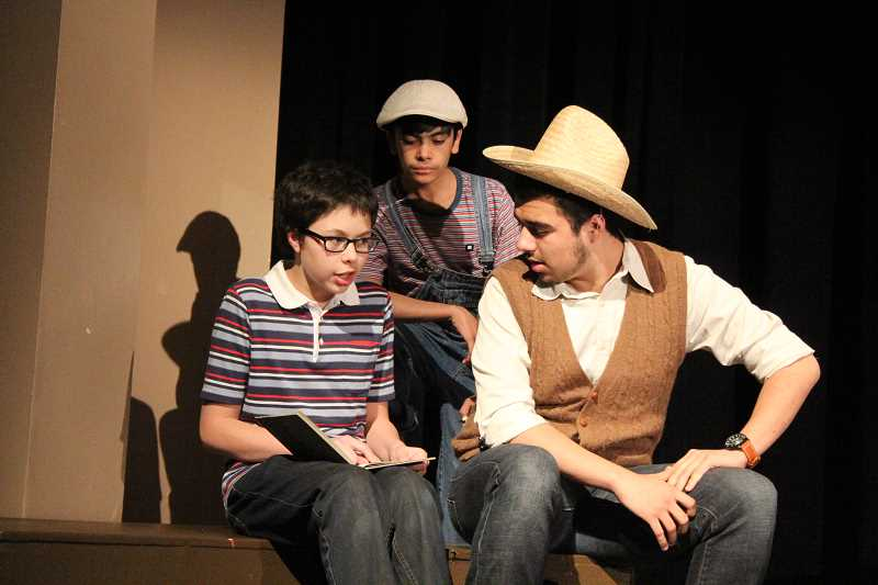 by: LINDSAY KEEFER - Tomas, played by Luis Perez, reads to his little brother Enrique, played by Eddie Torres (center), and Papa Grande, played by Nicolas Brody. The play will be at 7 p.m. May 2, 9 and 10 and at 2 p.m. May 3.