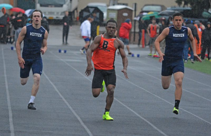 by: TIMES PHOTO: MATT SINGLEDECKER - Beaverton freshman Anthony Albright won the 100-meter dash in 11.63 against Westview on April 23. Albright also helped the Beavers 4x100 relay prevail.