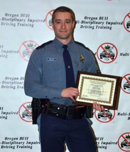 by: COURTESY PHOTO - North Plains-based Oregon State Police Trooper Patrick Peltier has been honored for his efforts in DUII enforcement.
