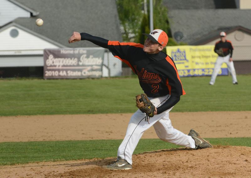 by: JOHN WILLIAM HOWARD - Scappoose senior Hunter Hoyt throws out a pitc during the Indians' win over Tillamook on April 28. Scappoose has won their last seven games and 12 of their last 13 outings.