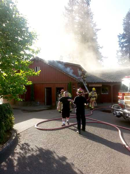 by: JD CLARIZIO - Firefighters contained a fire that was burning inside the walls of Arrowhead Golf Club's Farmstead Restaurant on Wednesday.
