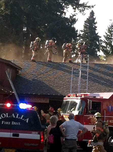 by: MARSHA LOHMAN-MAXAM - Firefighters from the Molalla Rural Fire Protection District No. 73 and Clackamas Fire District No. 1 responded Wednesday to a fire at Arrowhead Golf Club's Farmstead Restaurant.