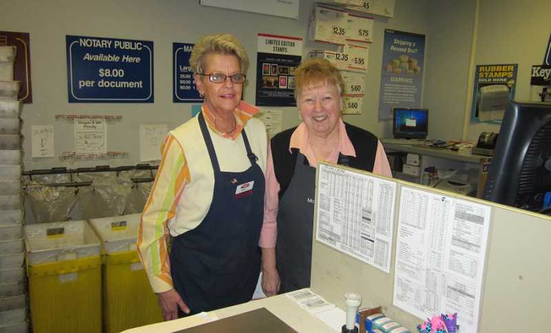 by: BARBARA SHERMAN - POPULAR PLACE - The post office inside McCann's is one of the most popular places in the King City Plaza, and its helpful and friendly postal workers include Nancy Norton (left) and Alice McNeill.