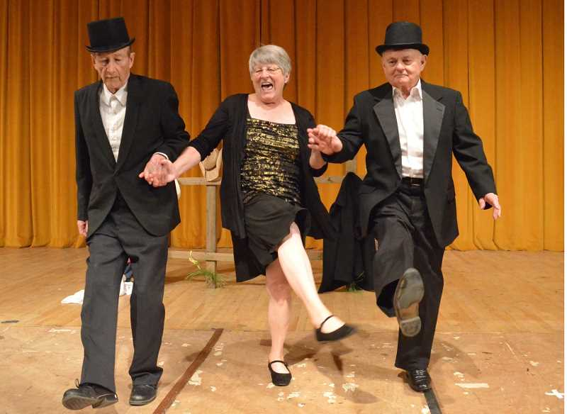 by: RON TENISON/FOR THE REGAL COURIER - ANOTHER STELLAR SHOW â€' Among the acts in Northwest Senior Theatre's spring show are Duane Crane (left), Sue Tenison and Vic McGraw singing 'How You Gonna Keep 'Em Down on the Farm?'