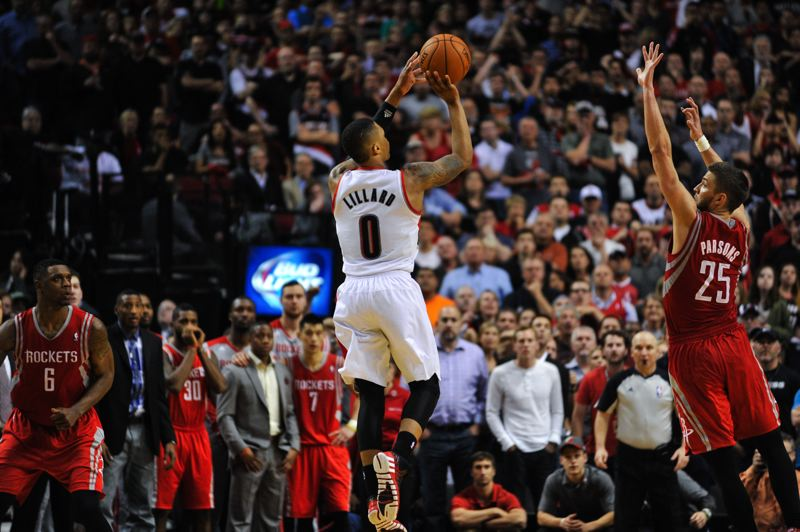 by: COURTESY OF JOHN LARIVIERE - Damian Lillard launches his open 3-pointer in the final series to beat the Houton Rockets 99-98 Friday night at Moda Center and give the Trail Blazers a 4-2 series win.