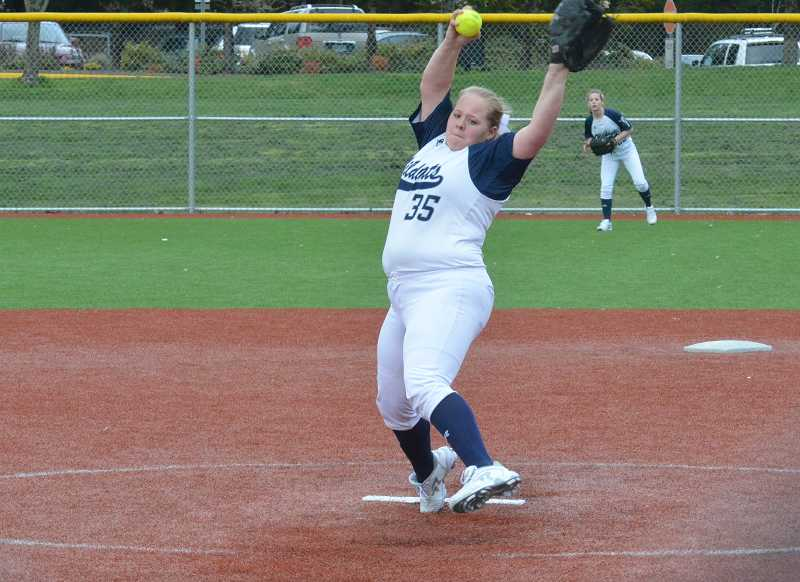 by: JEFF GOODMAN / FILE - Sarah Harms threw a complete-game shutout as the Wilsonville softball team defeated Milwaukie 5-0 on the road May 2.