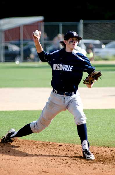 by: GREG ARTMAN / FILE - Ryan Howe logged six strikeouts in six innings on the mound to help the Wilsonville baseball team top St. Helens 8-3 at home April 30. The Wildcats won the series, 2-1.