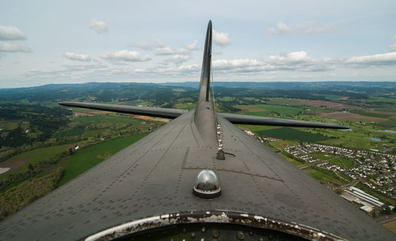by: SPOKESMAN PHOTO: JOSH KULLA - The view out of the top hatch of the Memphis Belle, a B-17F restored by the Liberty Foundation of Atlanta. The historic heavy bomber now tours the country.