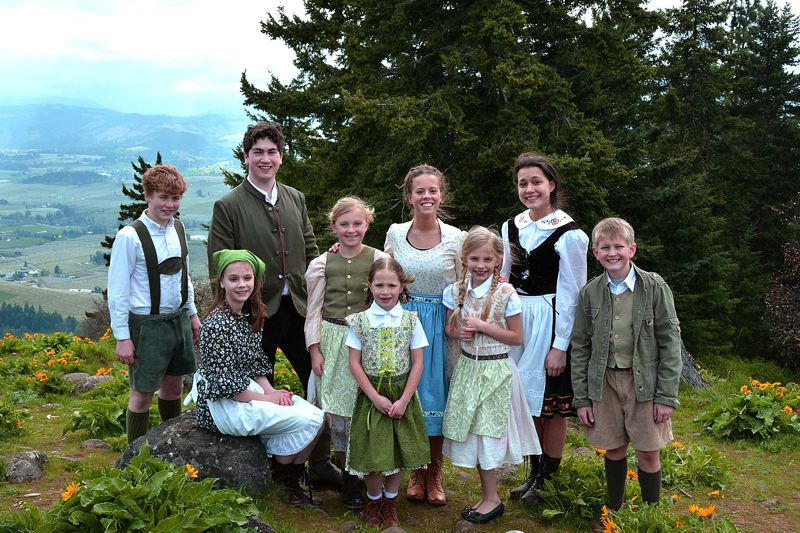 by: CONTRIBUTED PHOTO - The play features a cast of 29, including the von Trapp family. From left to right are Shayden Nagle, Emily Brady, Lucas Buchanan, Sydney Holwege, Reagan Luker, Erica Brady, Josie Lattin, Malia Mataele and Carson Cardwell.