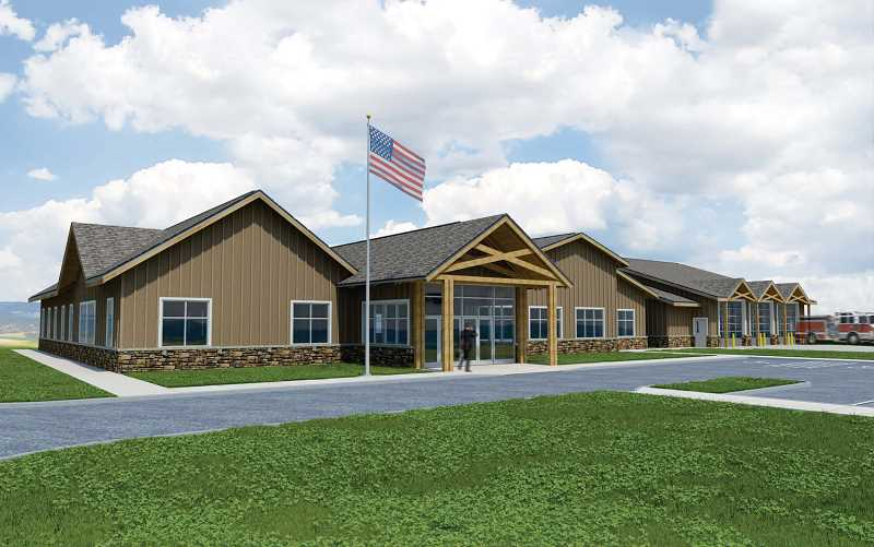 by: RENDERING COURTESY THE AURORA RURAL FIRE PROTECTION DISTRICT - This artist's rendering illustrates what the Aurora Rural Fire Protection District central station will look like.