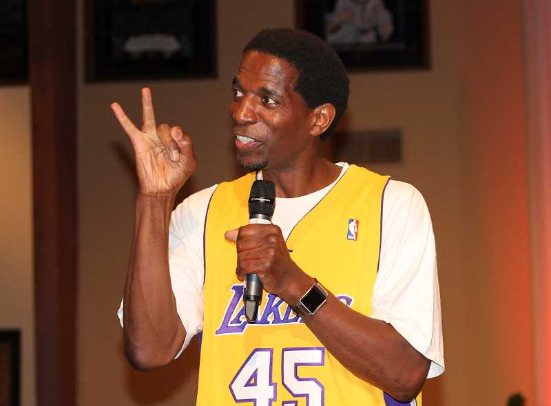by: JIM BESEDA/MOLALLA PIONEER - Former Oregon State standout AC Green won three NBA championships with the Los Angeles Lakers.