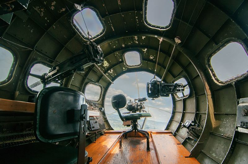 by: SPOKESMAN PHOTO: JOSH KULLA - A final look at the nose section of the B-17 from the bombardier's chair.
