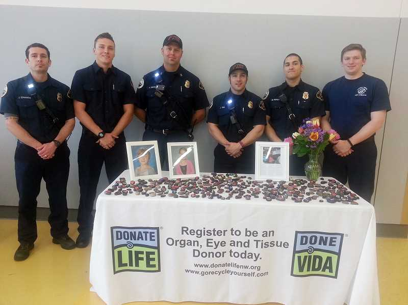 by: COURTESY PHOTO - The firefighters who responded to the emergency call after two girls were struck and killed by a car showed up at Saturdays Donate Life Northwest event to promote organ-donor signups.