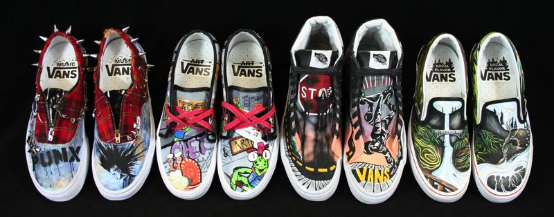 by: CONTRIBUTED PHOTO - Sandys four shoe designs are entered to win $50,000 in the Vans Custom Culture Shoe Competition.