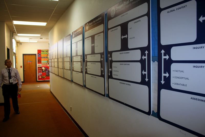by: POST PHOTO: KYLIE WRAY - The OTA middle school displays course layout boards to be filled out at the end of this year for next year.