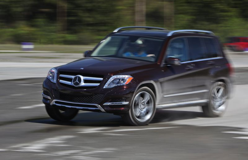 by: JOSH MACKEY/NWAPA - The Mercedes-Benz GLK250 BlueTEC tested on the skidpad.