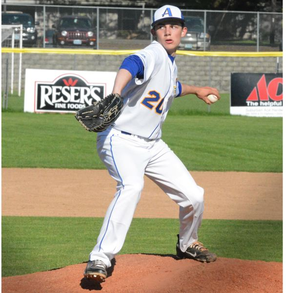 by: TIMES PHOTO: MATT SINGLEDECKER - Aloha starting pitcher Brandon Eisert threw five strong innings against Sunset to give the Warriors a 10-1 win.