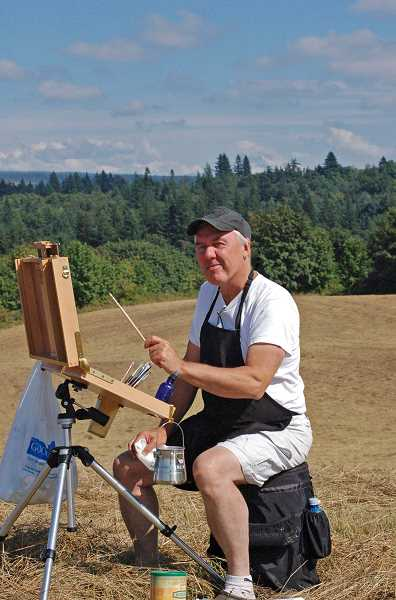 by: SUBMITTED PHOTO - Artist William Stanton demonstrates plein air painting. He will be one of 30 artists painting in this style over the next two weekends.