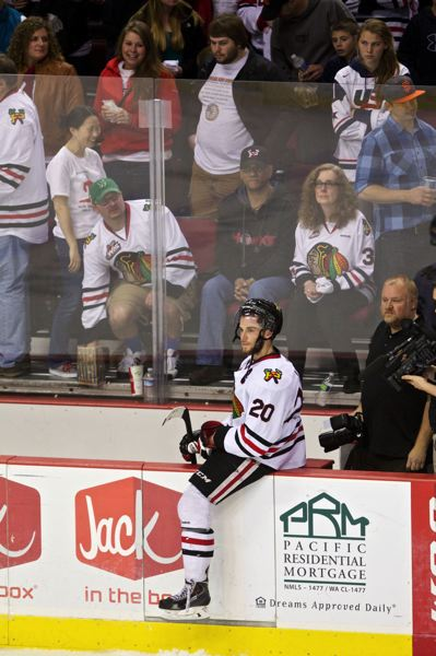 by: TRIBUNE PHOTO: JAIME VALDEZ - Winterhawks captain Taylor Leier reflects after Friday night's 3-2 home loss to Edmonton