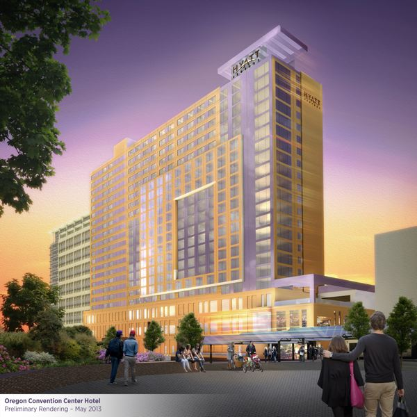 by: COURTESY OF METRO/MORTESON DEVELOPMENT - A rendering shows the proposed $197.5 million headquarters hotel that could be constructed near the Oregon Convention Center. Metro, the lead agency on the project, is being buffeted by legal challenges to its plan to finance the hotel.