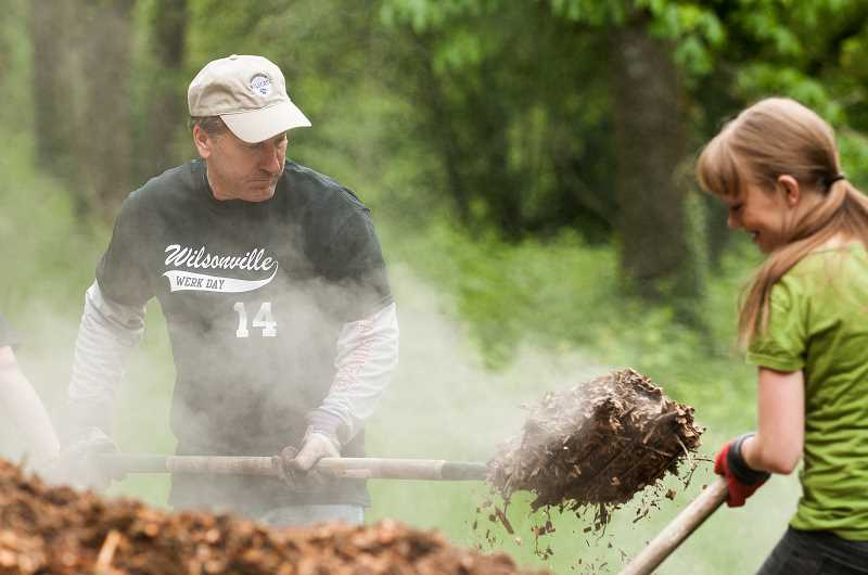 by: SPOKESMAN PHOTOS: JOSH KULLA - Wilsonville City Councilor Scott Starr scoops up a shovel full of steaming barkdust Saturday at Wilsonville's WERK Day at Memorial Park.