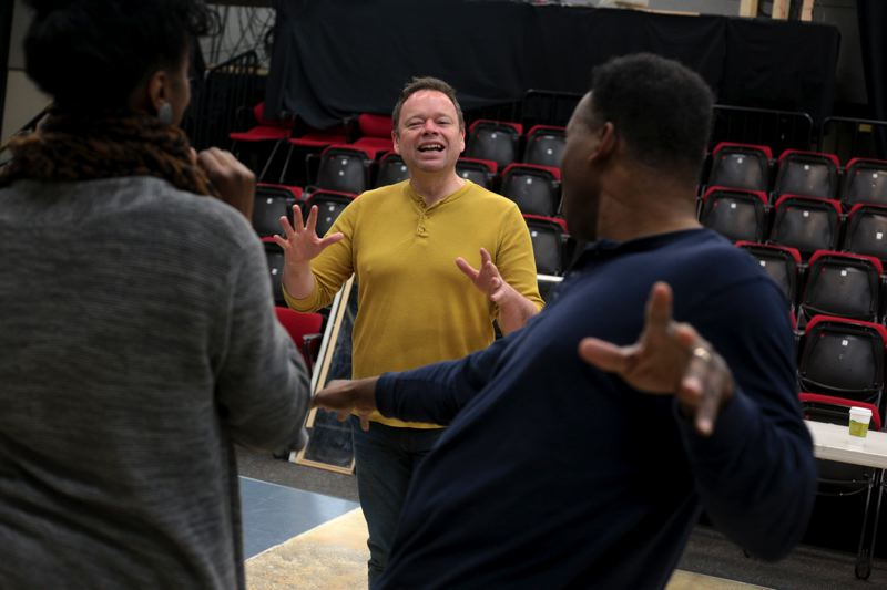 by: PHOTO BY JONATHAN HOUSE - Roger Welch works with the cast of 'Ain't Misbehavin'' as they prepare for opening night at Stumptown Stages in Portland.