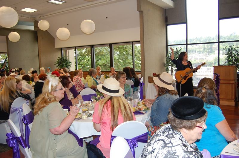 by: PHOTO BY: ROXANDRA PENNINGTON - Anne-Louise Sterry entertains at the 2013 Clackamas County Historical Society tea. Sterry will delight guests again this year, and County Commissioner Martha Schrader will emcee.
