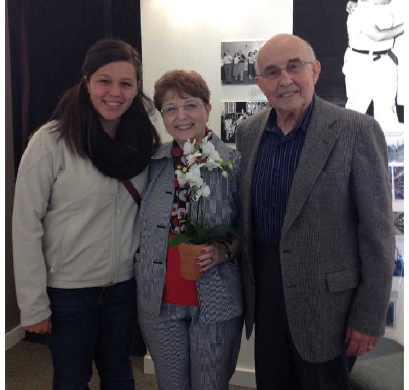 by: JESSICA SCHMIDTMAN - Kennedy High School students met Holocaust survivors Eva and Les Aigniers  who are pictured with high school junior Kayla Barboza.