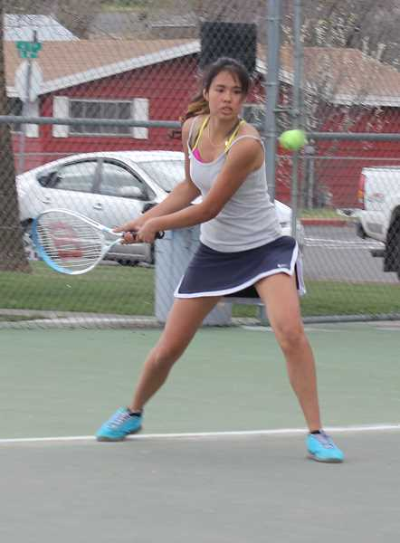 by: JEFF WILSON/THE PIONEER - Itzel Romero rebounded from an early loss to take the consolation bracket title last week at the Class 4A District 2 Tennis Championships in Portland.