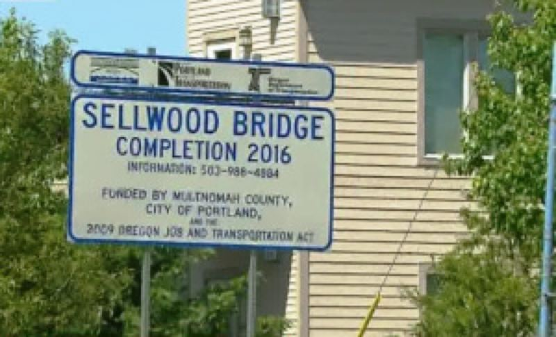 by: KOIN NEWS 6 - The Sellwood Bridge construction sign.
