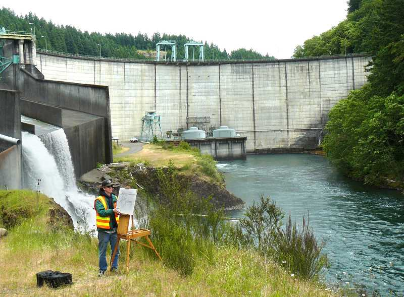 by: CONTRIBUTED PHOTO - Christopher Mooney drew inspiration from the North Fork Dam during the art jam in June 2013.