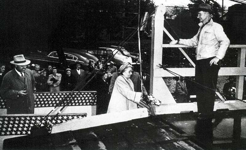 by: SUBMITTED PHOTO: CLACKAMAS COUNTY HISTORICAL SOCIETY - Ora Lee Cattley christens the M. J. Lee in Milwaukie in 1952.