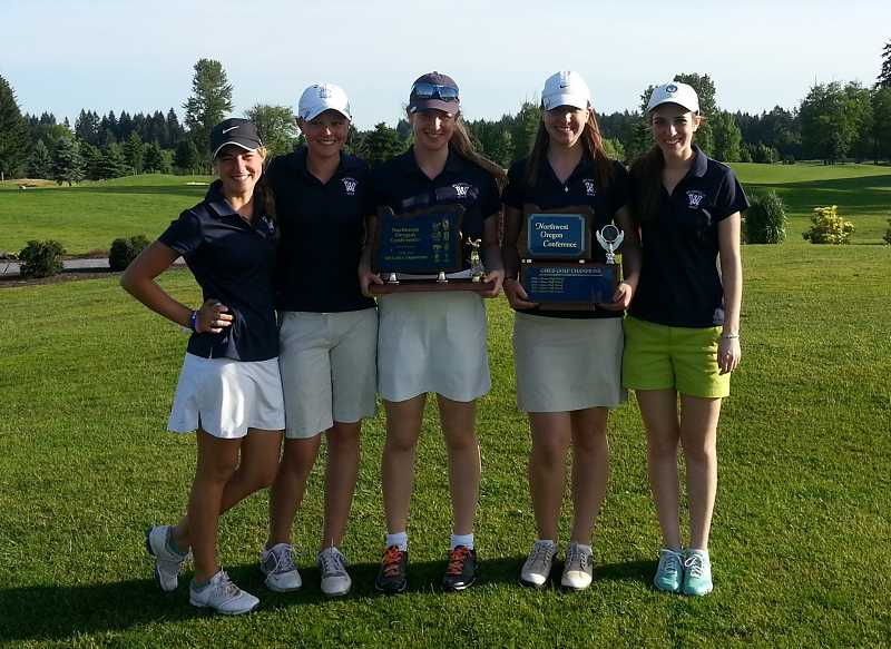by: SUBMITTED PHOTO - The Wilsonville girls golf team won the last five league tournaments of the season, including the two-day district championships, to capture its first conference title in a decade. From left, junior Audrey Chames, freshman Kaitlyn Howe, senior Megan Stites, senior Annika Oetken and junior Kara Gilbert.