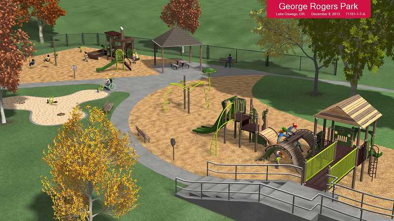 by: SUBMITTED PHOTO - The new playground at George Rogers Park should be ready for use early in June. A grand opening is planned for June 14.