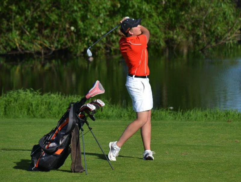 by: JD CLARIZIO - Molalla senior Janelle Ferlan finished at 12-over-par 156 to claim medalist honors at last week's Special District 2 girls' golf championships at the Oregon Golf Association Course in Woodburn.
