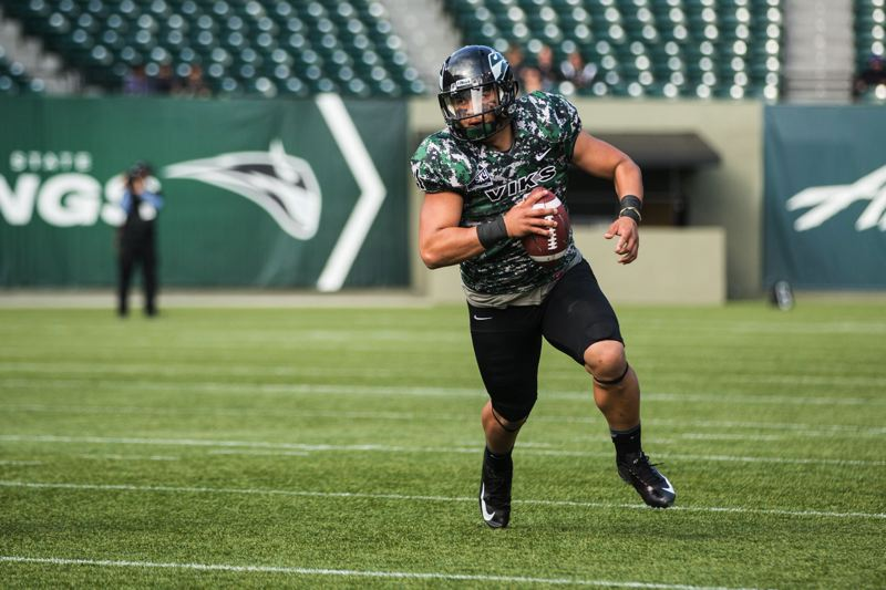 by: TRIBUNE FILE PHOTO: DAVID BLAIR - Quarterback Kieran McDonagh is back for his junior season and is the No. 1 candidate to lead the Portland State Vikings offense after his performance in spring ball and in Sundays annual spring game.