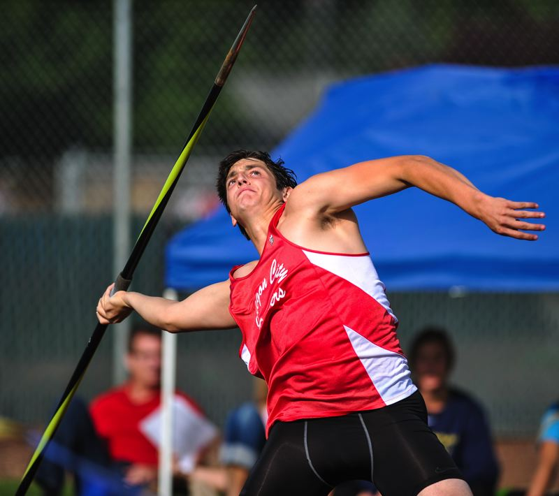 by: JOHN LARIVIERE - Oregon City senior Easton Christensen won the javelin with a personal best throw of 190.