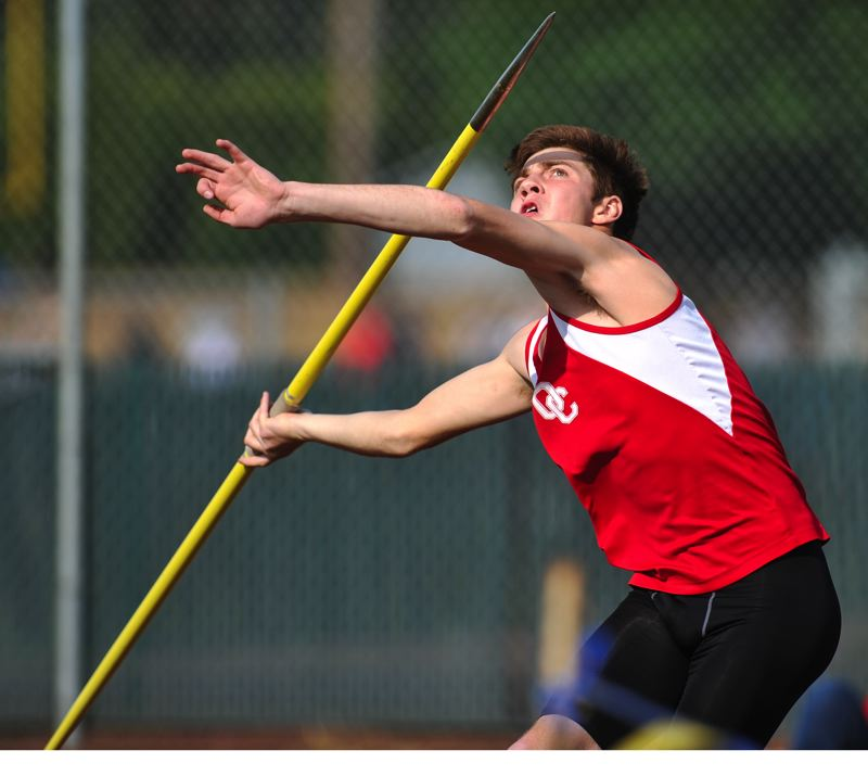 by: JOHN LARIVIERE - Oregon City senior Alex Canchola qualified for state in the javelin.