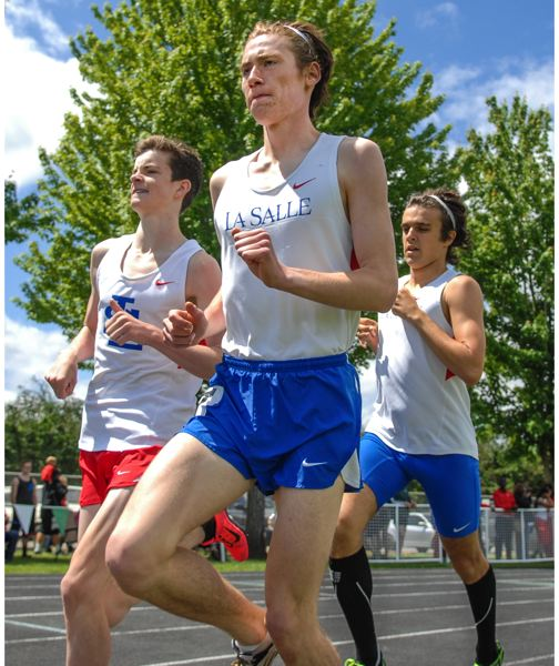 by: JOHN LARIVIERE - La Salle distance runners (from left) Truman Rae, Will Thompson and Logan Veasy swept the first three places of the 1,500 in Saturdays finals of the Tri-Valley Conference District Track and Field Meet.