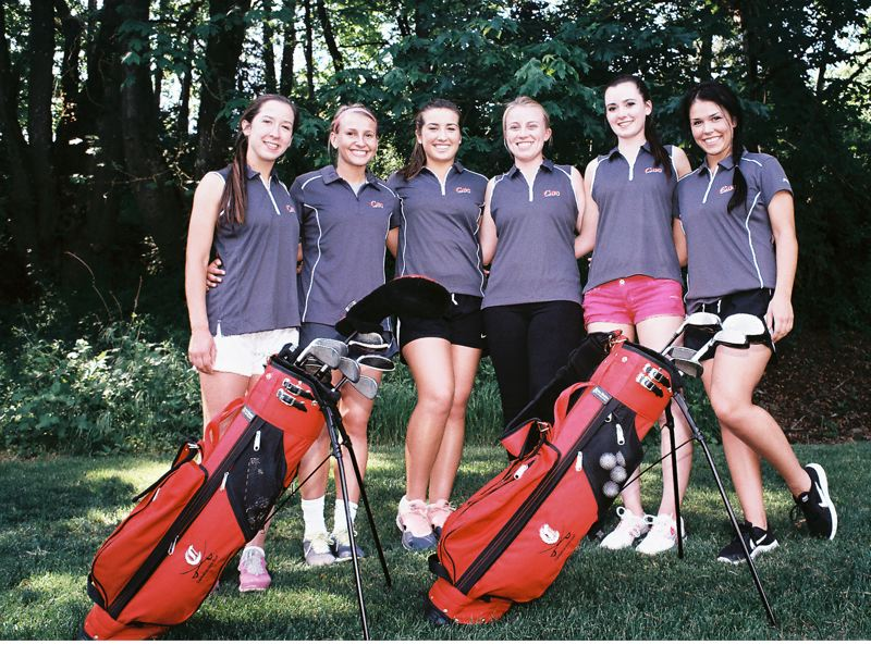 by: JOHN DENNY - Members of Clackamas High Schools varsity girls golf team have a right to be proud. They are believed to be the first Clackamas girls golf team in school history to qualify for state as a team. Vying for the standout team in 2014 were: (from left) Ally Bushman, Kaitlyn Reiner, Stephanie Welborn, Hannah Pasco, Rebecca Ray, Alisa Sandgren and (not pictured) Angela Lu.