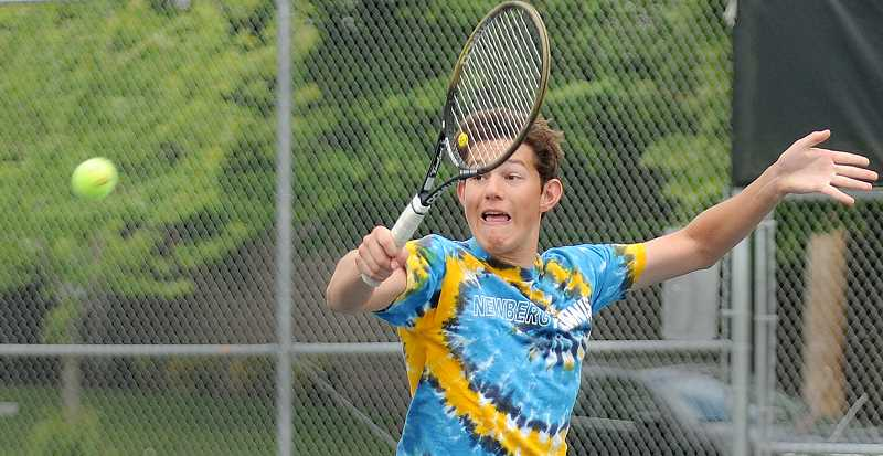 by: SETH GORDON - Reach - Aidan Thillmann (pictured) and Barry Vernon combined forces as the Tigers' No. 1 doubles team, which finished second in the district tournament and will play Thursday in the first round of the state championships.
