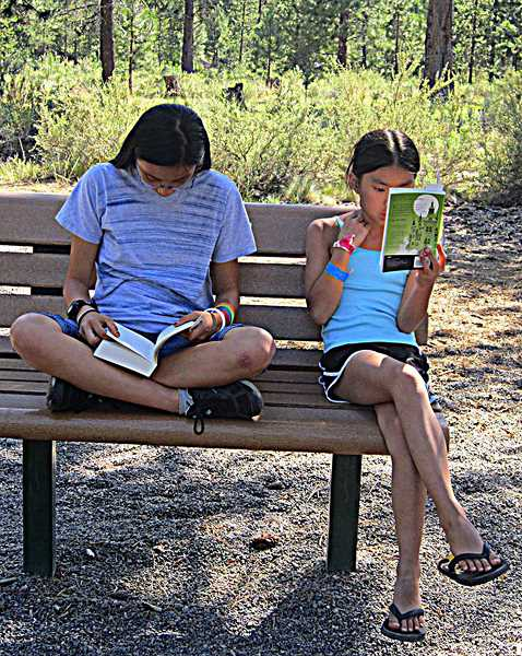 by: COURTESY PHOTO - Sofie (left) and Sonja spend much of their summer reading, according to their dad, Scott Dobberfuhl.