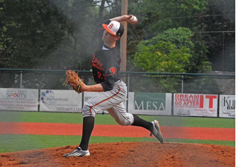 by: TIMES PHOTO: MATT SINGLEDECKER - Beaverton sophomore pitcher Sam Noyer allowed one run in three and a third innings against Jesuit on Thursday to help the Beavers clinch a share of the Metro League Championship.